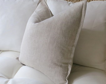 Heathered Linen Pillow Cover, Flange Edge Pillow, 18 x 18 inch, 20 x 20 inch, 22 x 22 inch, 24 x 24 inch, Pillow Sham, Euro Sham, Solid