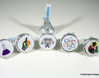 Mad Scientist, Science Theme, Hershey Kiss Stickers, Birthday Party, Favors, Small, Stickers, Envelope Seals, 108 Stickers