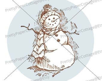 PRINTABLE, Snowman, Digital Download, PDF, Winter, Tea Party, Shower, Birthday, Tags, Stickers, Cupcake Toppers, Size 2 inch, 20 per page