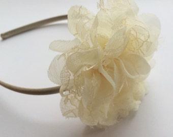 Ivory Lace Chiffon Flower Headband - Satin Headband for Girls - Ivory Flower Head Band - Flower Girl Headband in Ivory - Girls Headband