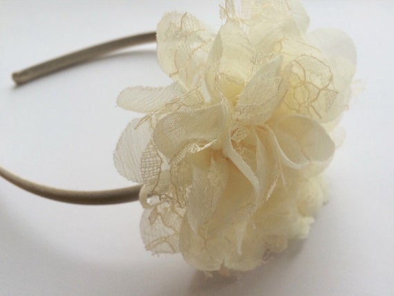 Ivory Lace Chiffon Flower Headband - Satin Headband for Girls - Ivory Flower Head Band - Flower Girl Headband in Ivory - Girls Headband