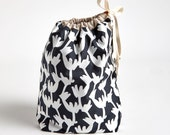Drawstring Bag with Waterproof Lining, Black and White Twigs by Made on Main VT