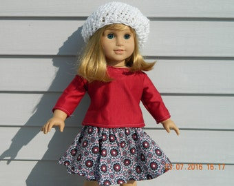 18 inch Doll Clothes - Red, Black & White