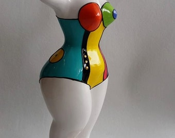 "Statue in style Nana by Niki de Saint Phalle, Model ""Mary"" decoration by Laure Terrier, UNIQUE PIECE !"