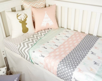 Faux Patchwork quilt nursery set - Mint, blush and grey deer (Grey chevron quilt backing)