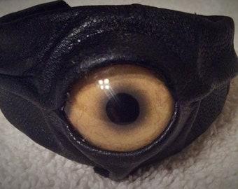 Leather animal eye wristband