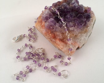 Sterling silver wire wrapped amethyst chain necklace free shipping
