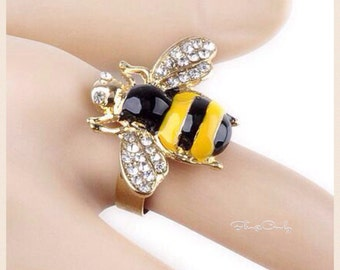 Fashion Jewelry, Adjustable Ring, Bumble Bee, Black and Yellow
