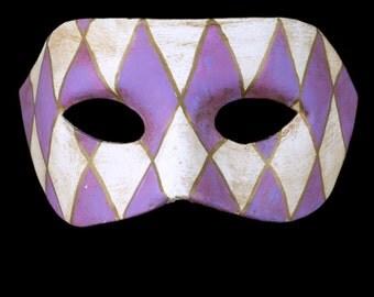 Venetian Mask   Purple Checked Eye Mask