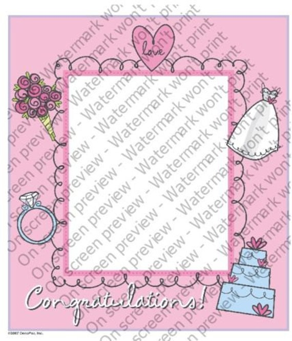 Wedding Bridal Shower - Edible Cake and Cupcake Photo Frame For Birthday's and Parties! - D4123