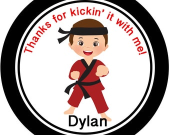 Karate Kid Party Personalized Sticker, Birthday Label: Martial Arts Party Favor Labels