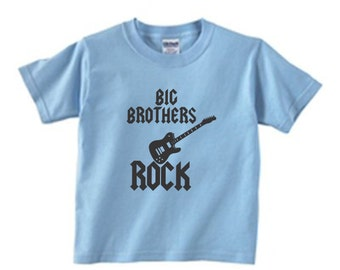 Big brothers rock - cool kids t-shirt - sibling boys shirt - size and color choice - short sleeved - announcement - youth or toddler shirt
