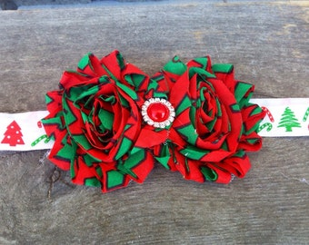 Christmas headband, red and green headband, girls christmas headband,  christmas headband, holiday headband, flower christmas headband
