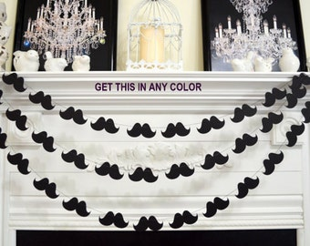 Mustache Garland, Little Man mustache Party, Mustache Baby Shower, Mustache Birthday Party, Photo Booth Props, Wedding Mustache Garland