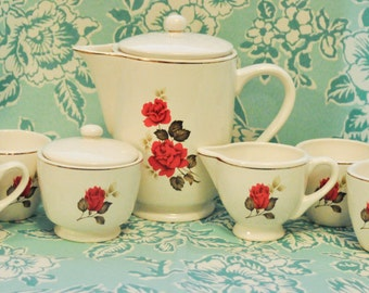 Super Cute Rose 7pc Coffee Set!!!