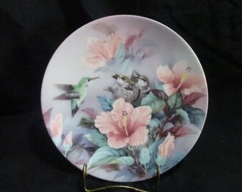 Hummingbirds collector's plate Nature's Harmony signed by Lena Liu, W L George Poetry Series