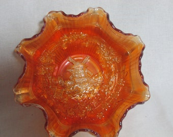 Imperial carnival glass windmill bowl marigold