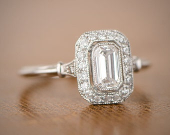 Vintage Style Emerald Cut Halo Ring