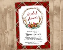 Printable Wedding Shower Invitation - or Save the Date - or bridal shower - Rustic Plaid Wreath Antlers Sleigh Bells - Red - Green