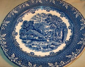 Vintage Transferware Plate, Blue & White, Farm England, WAS 25.00 - 50% = 12.50