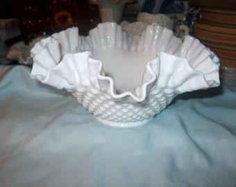 Vintage Fenton Hobnail Bowl, Milk Glass, Ruffled