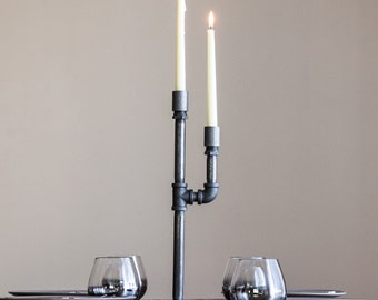 Pipe Candle Holder - Candelabra - Taper Candle Holder - Industrial Chic Decor - Metal Home Accessories - Pipe Furniture - Table Decorations