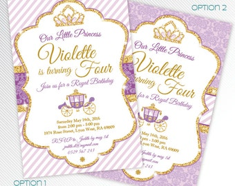 Purple and gold glitter Princess birthday party printable invitation
