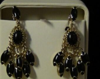 Vintage Clip earrings: Black Cabachon Dangles