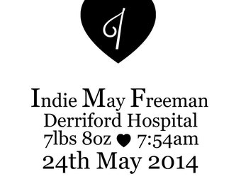 Personalised birth announcement printable