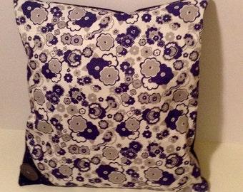 Liberty Print Grey, Navy Blue & White Cushion