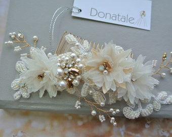 Wedding hair comb, Rose Gold  Wedding Hair Piece, Bridal headpiece, Ivory Champagne  Bridal Hair Accessories, Bridal hair comb - SCARLETT