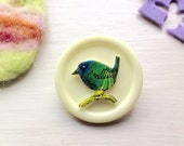 Bird Brooch Pin ~ Spring Garden Wildlife Gift Under 10 for Mother's Day, Button Jewellery.