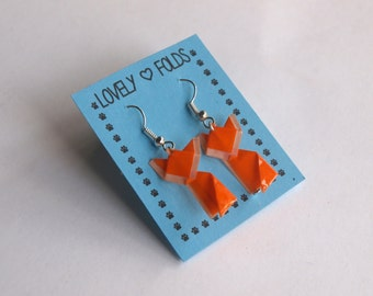 Dangle origami fox earrings