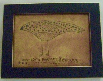 "Primitive Folk Art FRAMED ""Funny Little Folk Art Bird"" - Copyright Lithograph Print of Original Primitive Folk Art Bird Stitchery"