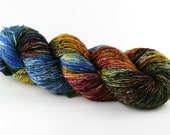 Hand dyed yarn, 100% superwash merino, single ply, high twist fingering, 400 yards, 'Moraine Valley'