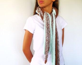 bufanda tejida tostada y verde bufandas originales hechas a mano bufandas tejidas modernas