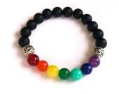 7 Chakra Bracelet/ Black Matt Onyx Bracelet /Beaded Bracelet/ Gemstone Stretch Bracelet