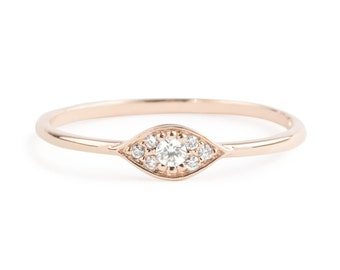 Evil eye ring, 14k rose gold with white diamonds, Evil eye jewelry, rose gold white gold option evi-r101