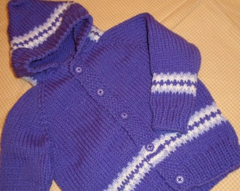 Purple Hoodie Sweater/Hand Knit/Size 1/Birthday Gift