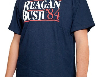Reagan Bush 84 T-shirt Conservative Presidential Campaign Shirt S-3XL Navy