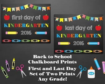 Set of 2 First and Last Day of School Chalkboard Signs ~ Printable ~ Any Grade!