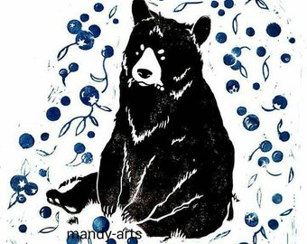 Black Bear linocut art print