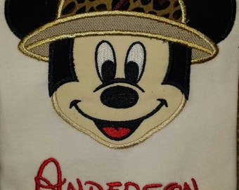Mickey Minnie Safari Animal Kingdom Disney Vacation custom Applique Tee