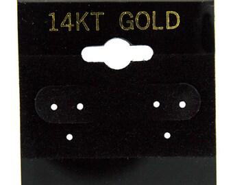 """Hanging Earring Cards Black 1 1/2"""" """"14k Gold"""" Imprint (Pkg/100) (DER701)"""