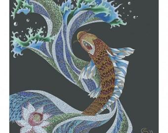 ORIGINAL art Colored Pencil Mosaic KOI Fish Print