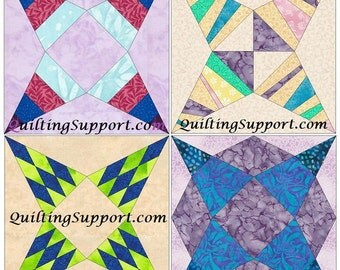 Priscilla Star Set of 4 Paper Piece Template Quilting Block Patterns Set 2 PDF