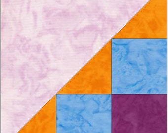Half Checkerboard 3 Paper Piece Templates Quilting Block Pattern PDF