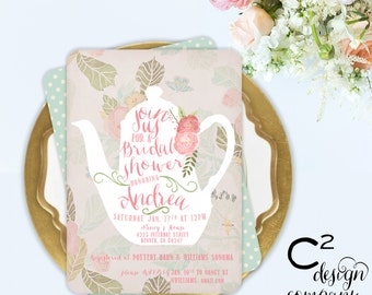 Vintage Floral Teapot Bridal or Baby Shower Invitation