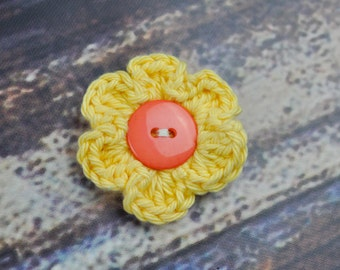 Flower Clip - Hair Accessory - Yellow and Orange
