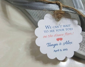 Personalized Favor Tags 2'', Wedding tags, Love, Thank You tags, Favor tags, flip flop tags, dance floor